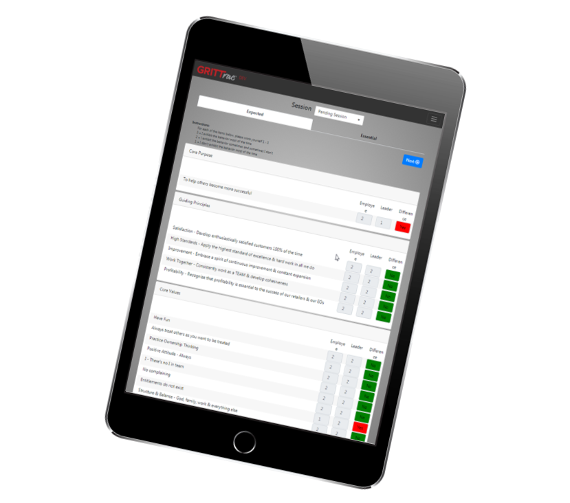 GRITTrac Responsive Tracking Goals, Engaging Employees, and Helping Everyone See the Big Picture Tablet